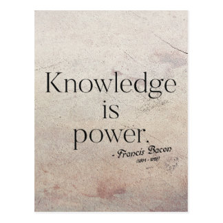Francis Bacon - Knowledge is power Quote Postcard