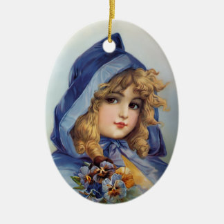 Francis Brundage Girl in Blue Hood Ceramic Oval Decoration