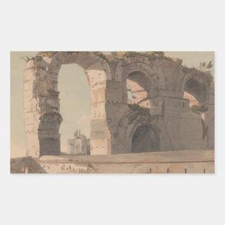 Francis Towne - The Claudian Aquaduct, Rome Rectangular Sticker