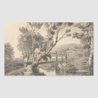 Francis Towne - The Foot Bridge Rectangular Sticker