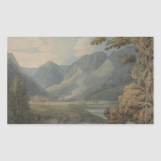 Francis Towne - View in Borrowdale of Eagle Crag Rectangular Sticker