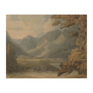 Francis Towne - View in Borrowdale of Eagle Crag Wood Print
