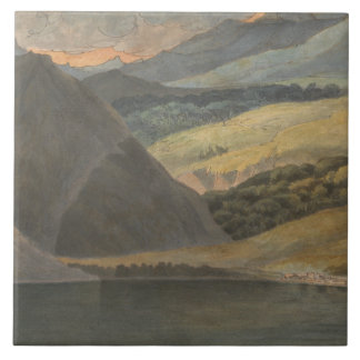 Francis Towne - View on Lake Maggiore at Evening Large Square Tile