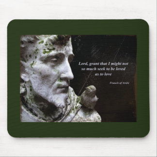 Francis with Bird Statue Mouse Pad