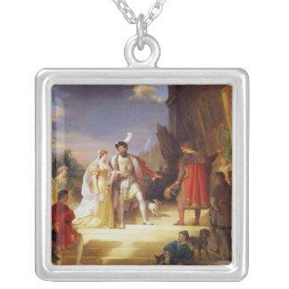 Francois I  with Leonardo da Vinci Silver Plated Necklace