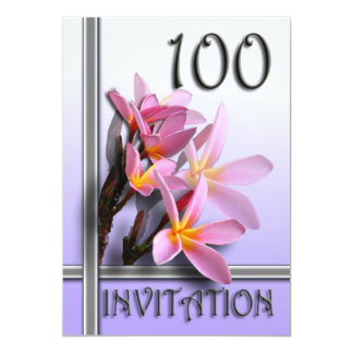 Frangipani 100th Birthday Party Invitation 13 Cm X 18 Cm Invitation Card