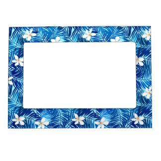 Frangipani and blue palm leaf magnetic frame