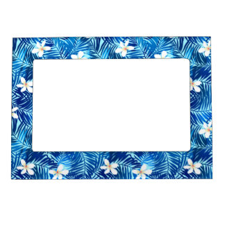 Frangipani and blue palm leaf magnetic picture frame