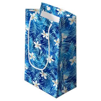 Frangipani and blue palm leaf small gift bag