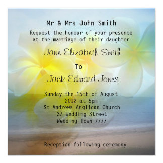 Frangipani Beach Wedding Custom Invitations