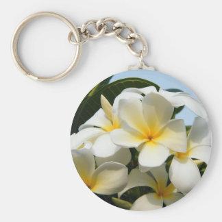 Frangipani Bliss Basic Round Button Key Ring