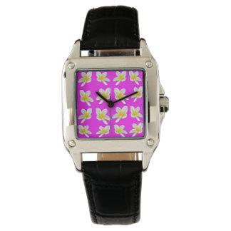 Frangipani Blush, Ladies Square Leather Watch. Watch