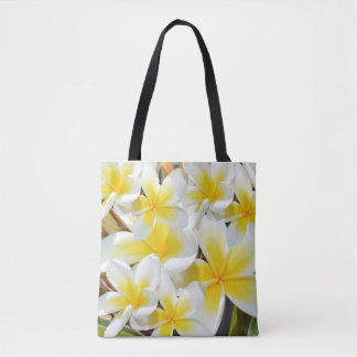 Frangipani Bouquet, Full Print Shopping Bag. Tote Bag