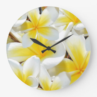 Frangipani Bouquet, Large Round Wall Clock. Large Clock