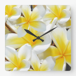 Frangipani Bouquet, Large Square Wall Clock. Square Wall Clock