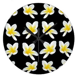Frangipani Flower Sensation, Lge Round Wall Clock