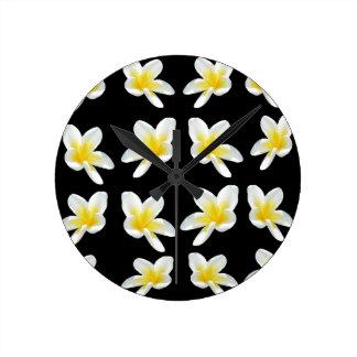 Frangipani_Flower_Sensation,_ Round Clock