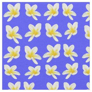 Frangipani Flowers On Sky Blue , Cotton Material. Fabric