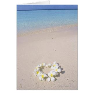 Frangipani on the beach greeting cards