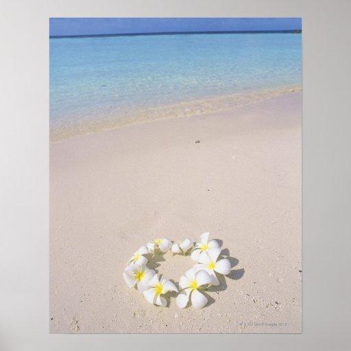 Frangipani on the beach print