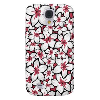 Frangipani Pattern Fuchsia Pink and White Samsung Galaxy S4 Cover