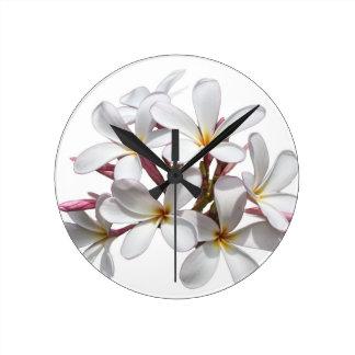 Frangipani (Plumeria) flower Round Clock
