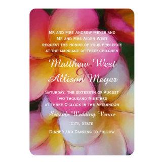 Frangipani Plumeria Watercolor Flowers Wedding Card