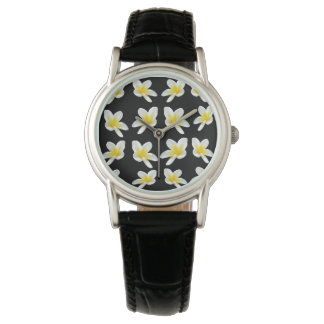 Frangipani Sensation, Ladies Black Leather Watch. Watch
