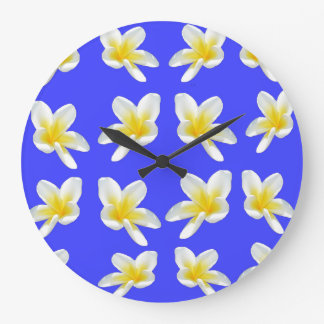 Frangipani Summer Breeze, Large Round Wall Clock. Large Clock