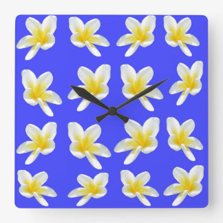 Frangipani Summer Breeze, Square Wall Clock. Square Wall Clock