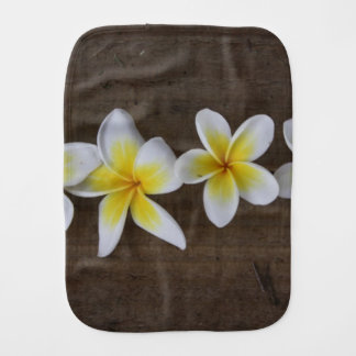 Frangipanis Plumeria on Rustic Wood Baby Burp Cloths