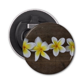 Frangipanis Plumeria on Rustic Wood Bottle Opener