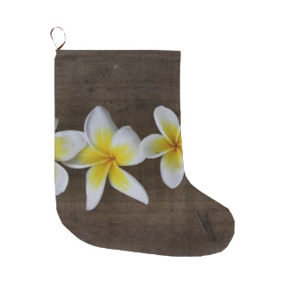 Frangipanis Plumeria on Rustic Wood Large Christmas Stocking