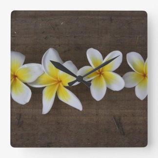Frangipanis Plumeria on Rustic Wood Square Wall Clock