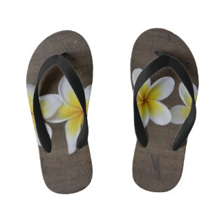 Frangipanis Plumeria on Rustic Wood Thongs