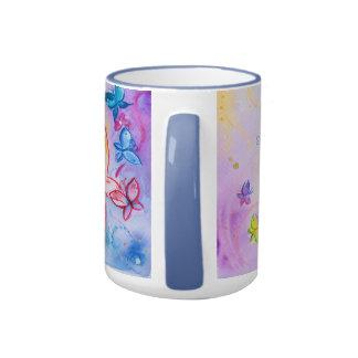 Frank Borman Elementary Butterfly watercolor paint Ringer Mug