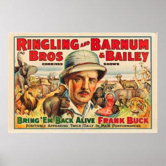 Frank Buck Bring 'Em Back Alive Circus Poster