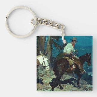 "Frank T Johnson Western Art ""High In The Sierras"" Key Ring"
