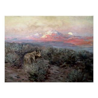 "Frank Tenney Johnson Western Art ""Coyote Moonrise"" Poster"