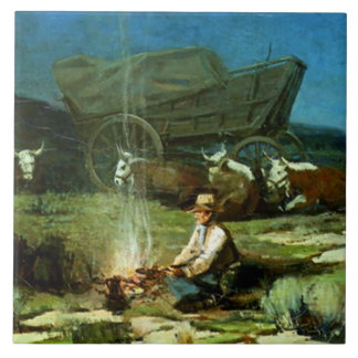 """Frank Tenney Johnson Western Art """"Lonely Night"""" Large Square Tile"""