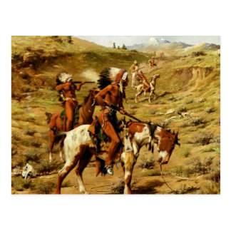 "Frank Tenney Johnson Western Art ""The War Party"" Postcard"