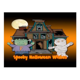 Frankenstein and Mummy Halloween Postcard