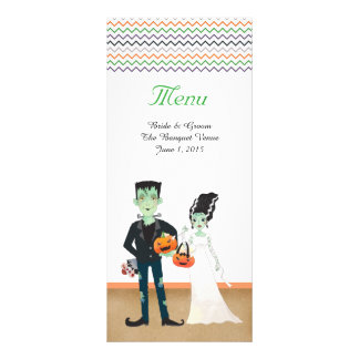 Frankenstein Bride Halloween Wedding Menu Cards Custom Rack Cards