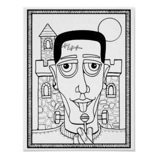 Frankenstein Cardstock Adult Coloring Page Poster