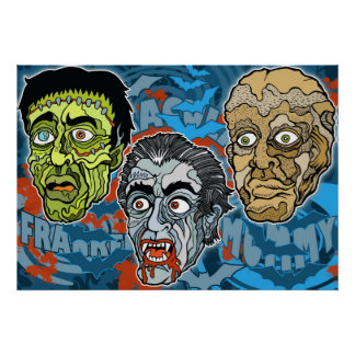 Frankenstein Dracula The Mummy Poster