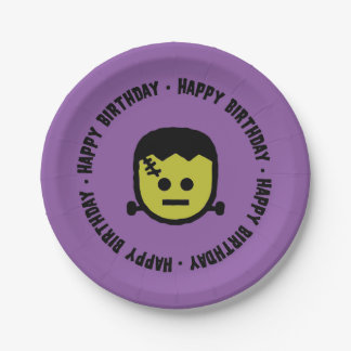 Frankenstein Halloween Birthday Paper plates