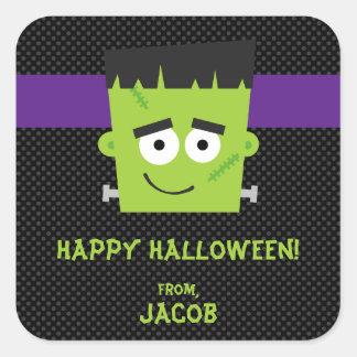 Frankenstein Halloween Sticker, Kids Halloween Square Sticker
