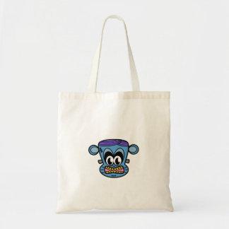 Frankenstein monkey in blue budget tote bag