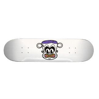 Frankenstein monkey in purple pink yellow skate boards