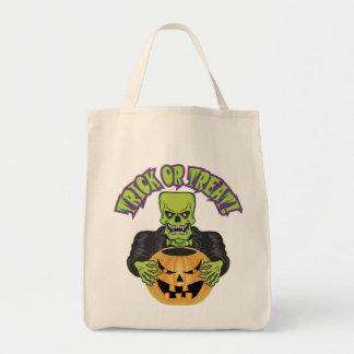 Frankenstein Skull Grocery Tote Bag